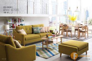 Chọn ghế sofa đẹp có kiểu dáng và màu sắc phù hợp với không gian phòng khách có diện tích rộng rãi