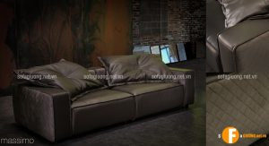 Mẫu ghế sofa da thật nhập khẩu Malaysia trưng bày tại Showroom Nội Thất Nhập Khẩu