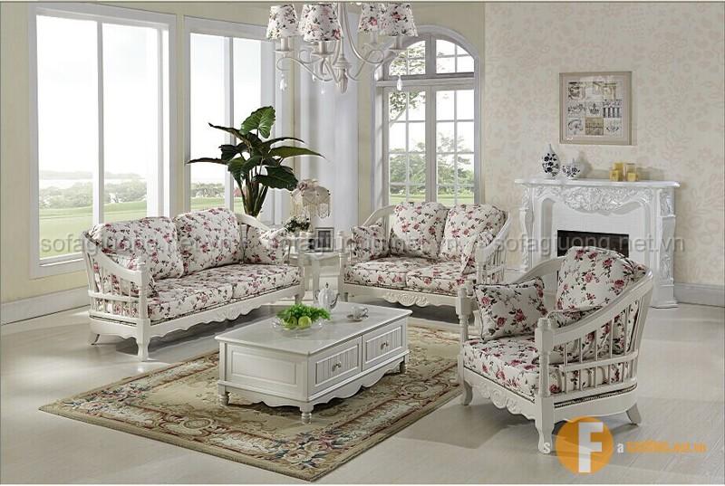 Sofa tân cổ điển với họa tiết hoa phá cách, mang đến cảm hứng mới mẻ ngập tràn không gian phòng khách