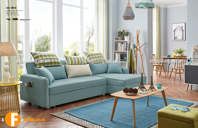 Mẫu sofa kiêm giường với gam màu xanh ngọc nhẹ nhàng, tinh tế