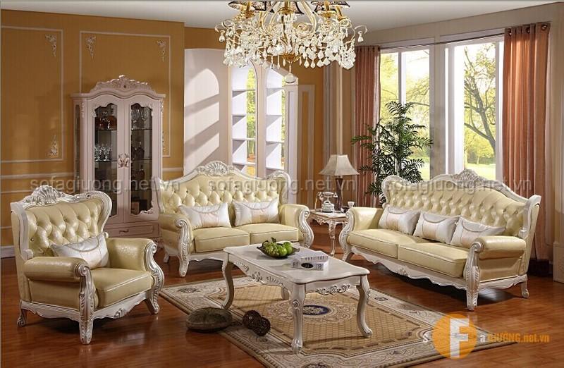 Ghế sofa tân cổ điện chất liệu da cao cấp được nhiều khách hàng yêu thích hiện nay