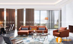 Phối cảnh ghế sofa giường và bàn trà hiện đại bộ đôi hữu ích trong mọi căn phòng khách